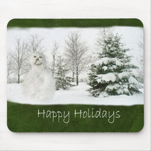 Snowman with Winter Trees - Happy Holidays Mouse Pad