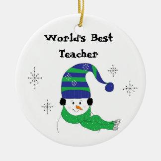 Snowman World's Best Teacher Christmas Ornament