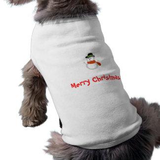 Snowman x-mas t-shirt sleeveless dog shirt