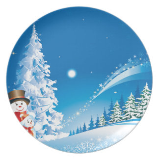 snowmans christmas dinner plates