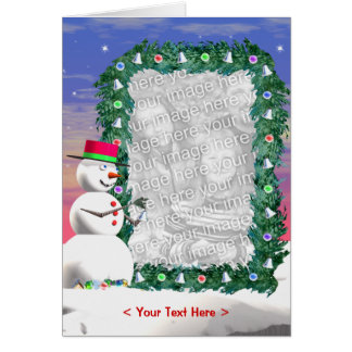 Snowman's Christmas (photo frame) (tall) Greeting Card