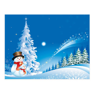 snowmans christmas postcard