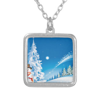 snowmans christmas silver plated necklace