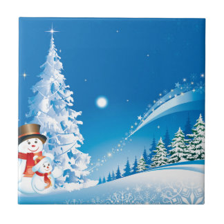 snowmans christmas small square tile