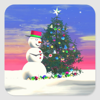 Snowman's Christmas Square Sticker