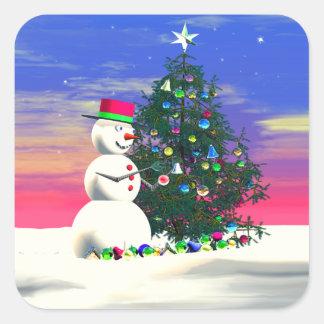 Snowman's Christmas Square Sticker