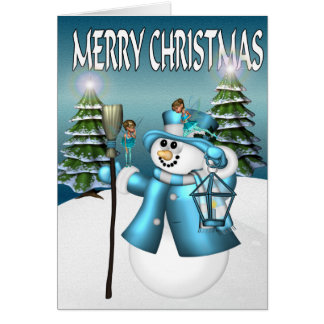 Snowman's Christmas with the Fairies Greeting Card