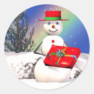 Snowman's Present Classic Round Sticker