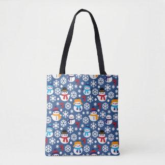 Snowmans & Snowflakes Seamless Pattern Tote Bag
