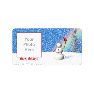 Snowmans Snowy Christmas Photo Frame Address Label