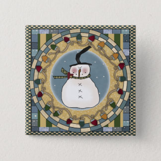 Snowman's Winter 15 Cm Square Badge