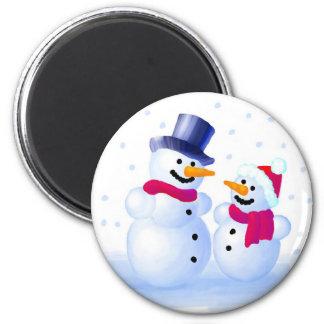 Snowmen 6 Cm Round Magnet
