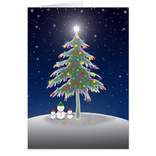 Snowmen and Christmas Tree Card