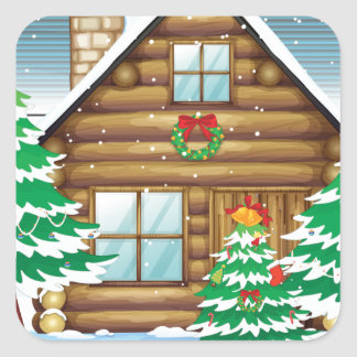 snowmen and house square sticker