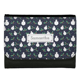 Snowmen and mistletoe pattern leather wallet