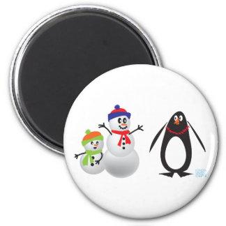 Snowmen and Penguin 6 Cm Round Magnet