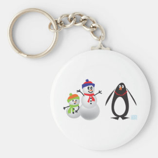 Snowmen and Penguin Basic Round Button Key Ring