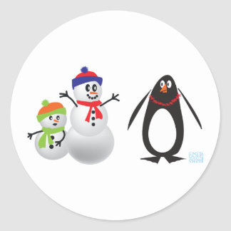Snowmen and Penguin Classic Round Sticker
