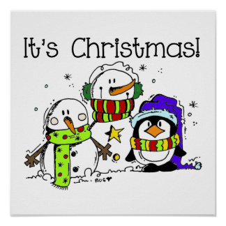 Snowmen and Penguins It s Christmas Poster