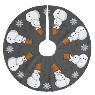 Snowmen and Snowflakes Brushed Polyester Tree Skirt