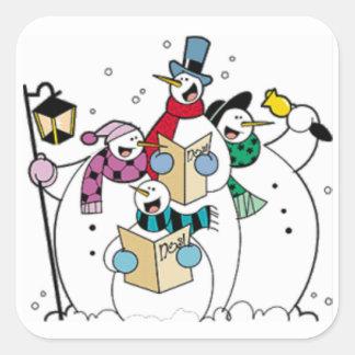 Snowmen Carol Singing Square Sticker