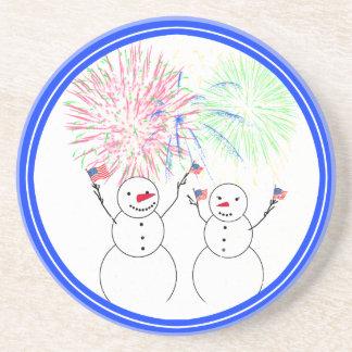 Snowmen Celebrating Fireworks Day Drink Coaster