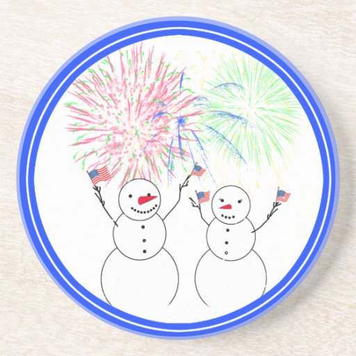 Snowmen Celebrating Fireworks Day! Drink Coaster