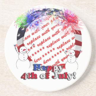 Snowmen Celebrating Freedom w Flag Frame Drink Coaster