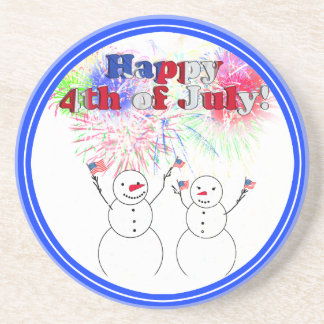 Snowmen Celebrating the 4th of July Drink Coasters