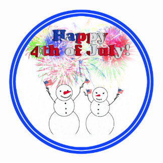 Snowmen Celebrating the 4th of July Cut Out
