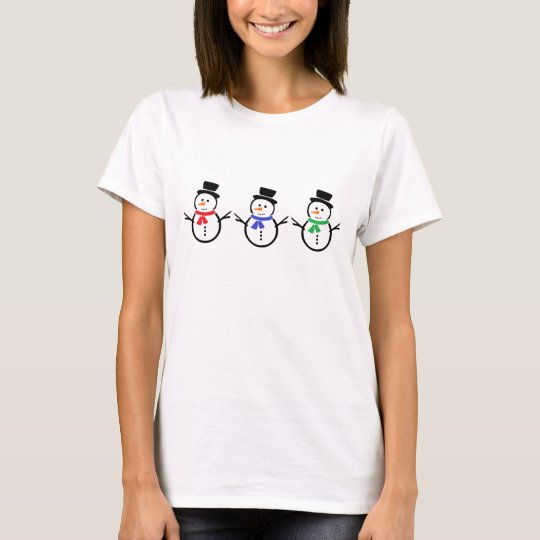 Snowmen Cheerful Scarves Basic T-Shirt