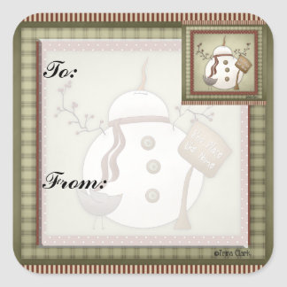 Snowmen Christmas Gift Tag Sticker