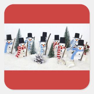 Snowmen Christmas Reunion Glossy Square Stickers