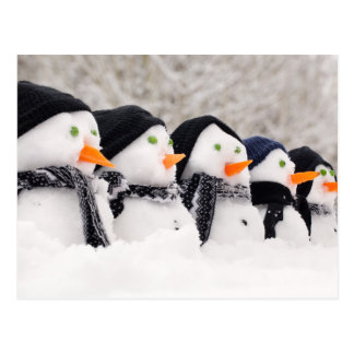 Snowmen Close Up In A Row Postcard