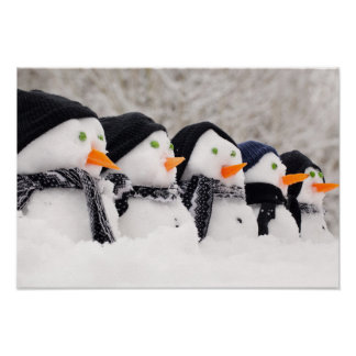 Snowmen Close Up In A Row Poster