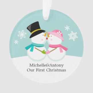 Snowmen Couple Custom Christmas Ornament