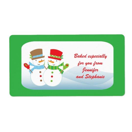 Snowmen customisable baked goods gift tag label