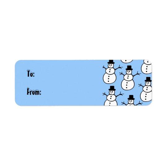 Snowmen Gift Tag Label Return Address Label