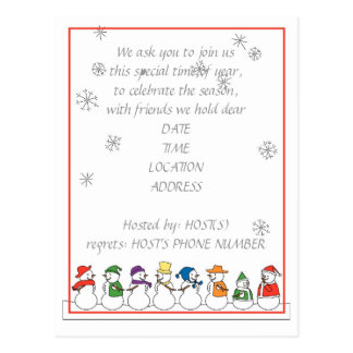 Snowmen Holiday Party Invitation Postcard