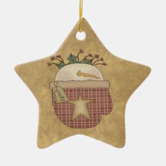 Snowmen Mitten Christmas Star Ornament