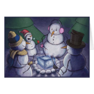 Snowmen Out Camping Greeting Card