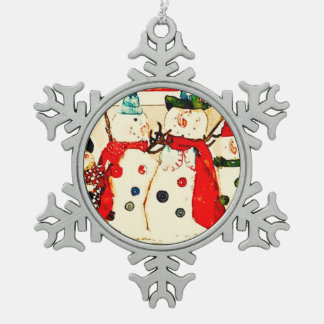 snowmen pewter snowflake decoration
