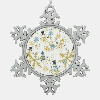 Snowmen Pewter Snowflake Ornament