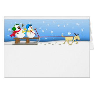 Snowmen Sledding Card