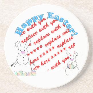 Snowmen Snow Bunnies Easter Photo Frame Coaster