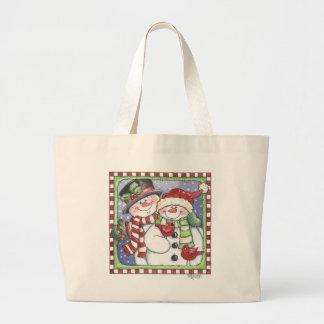 Snowmen - Snow Couple & Cardinal Jumbo Tote Bag