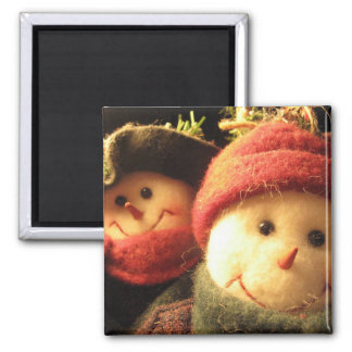 Snowmen Square Magnet