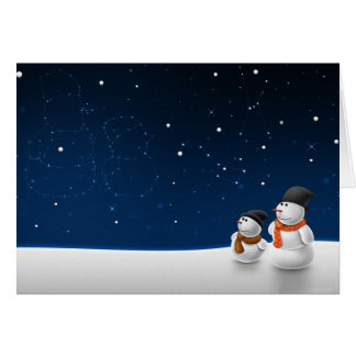 Snowmen Stargazing Greeting Card