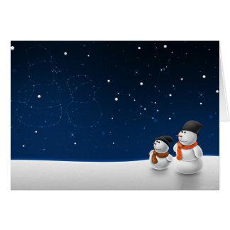 Snowmen Stargazing Greeting Card