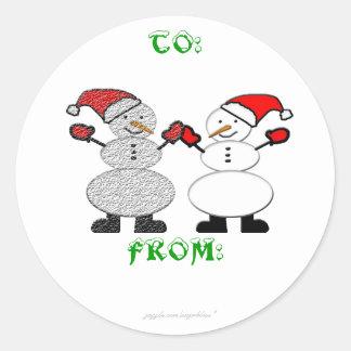 Snowmen Sticker Tag